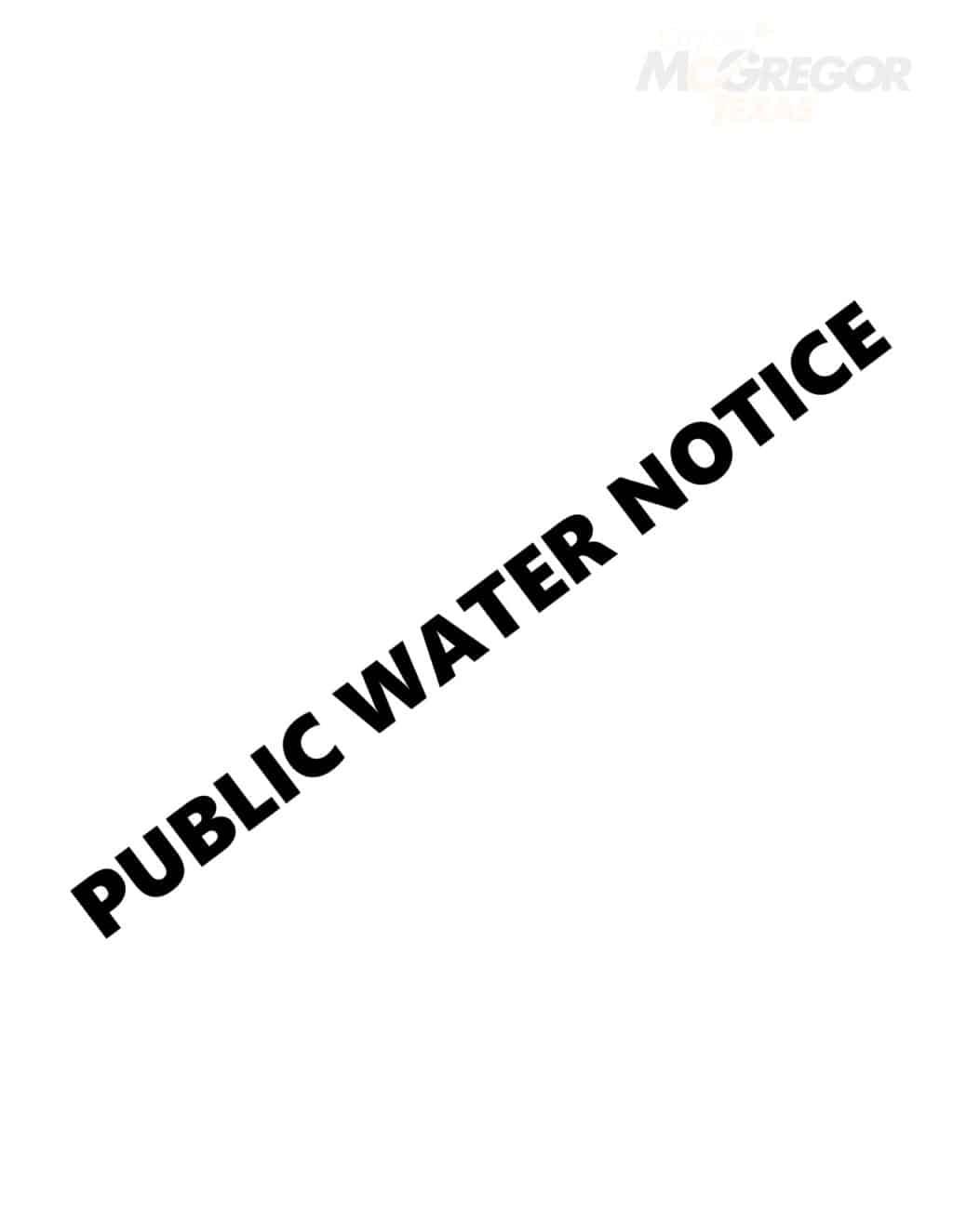 Public Water Notice
